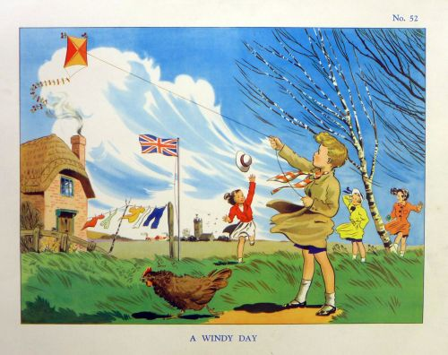 Vintage School Poster 1930's/40's - A Windy Day