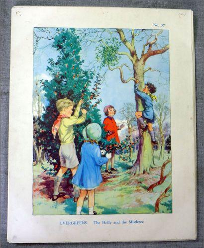 Vintage School Poster 1930's/40's - Holly & Mistletoe