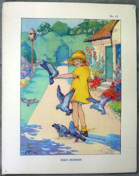 Vintage School Poster 1938 - Bird Friends