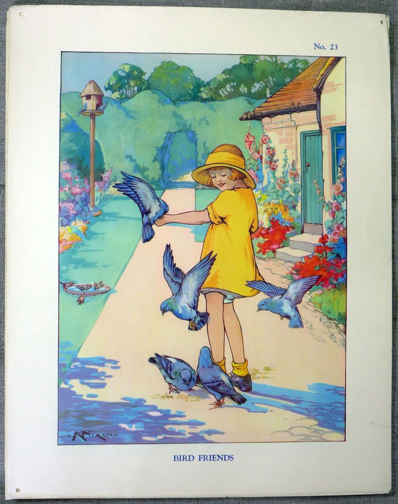 Vintage School Poster 1938 - Bird Friends