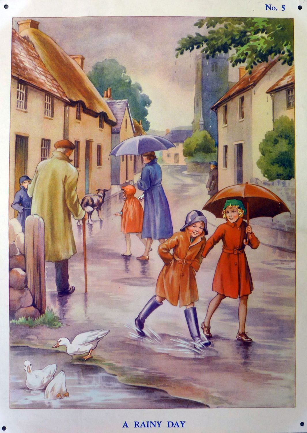 Vintage School Poster 1938 - A Rainy Day