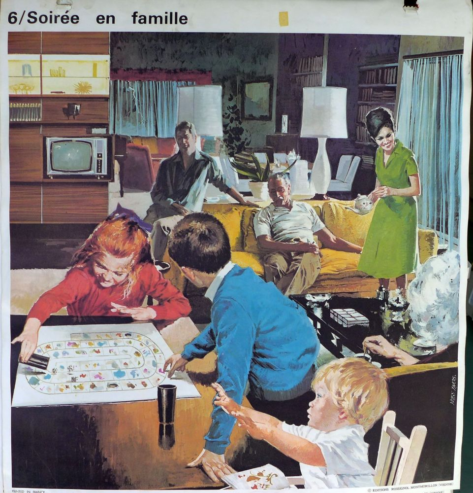 1960's French School Poster - Family Evening/Autumn Work