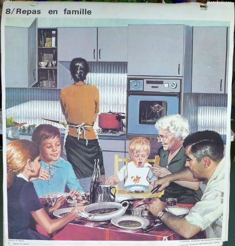1960's French School Poster - Family Meal/Autumn Squalls