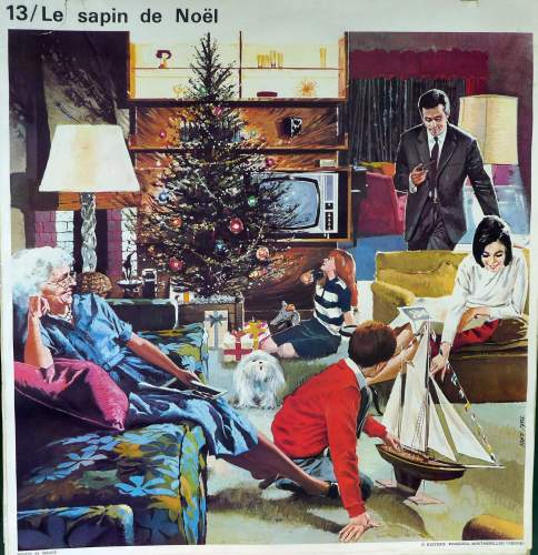 1960's French School Poster - The Christmas Tree/John is Ill