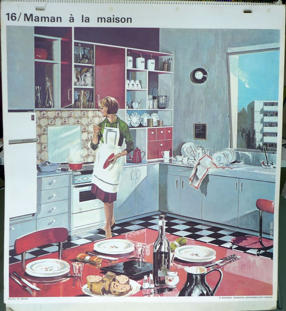 1960's French School Poster - Mother at Home/At the Barbers