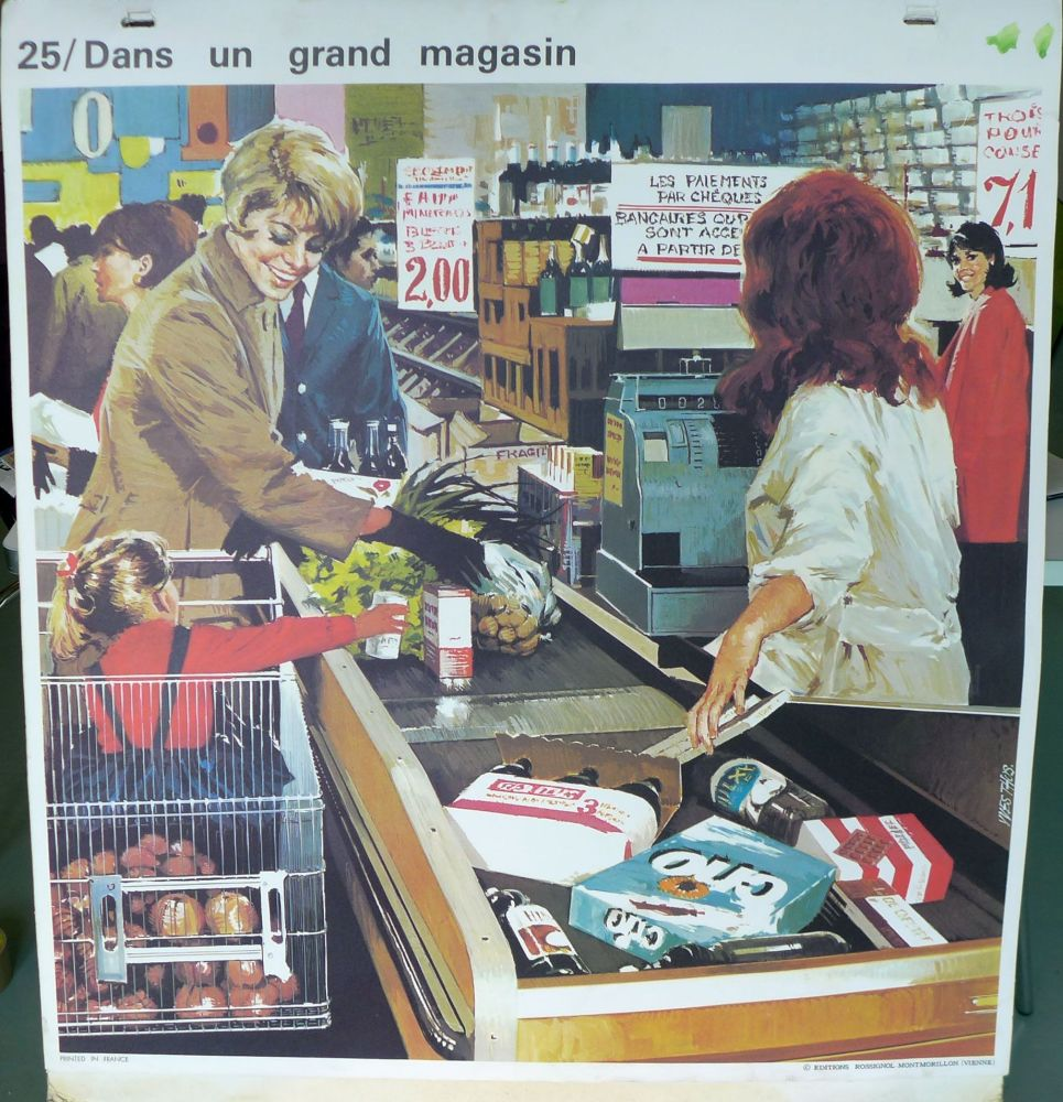 1960's French School Poster - In the Supermarket/At the Bakers