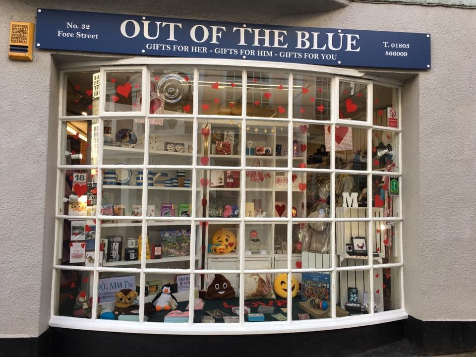 Out of the Blue Totnes Valentine's Window