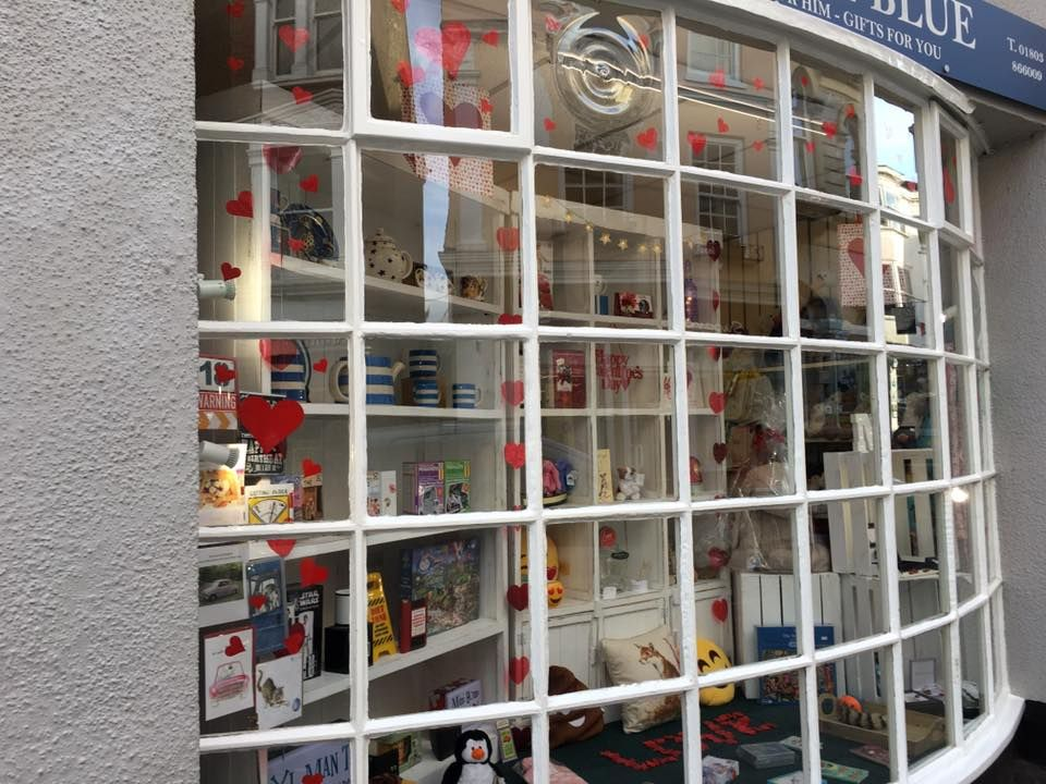 Out of the Blue Totnes Valentine's Window 2