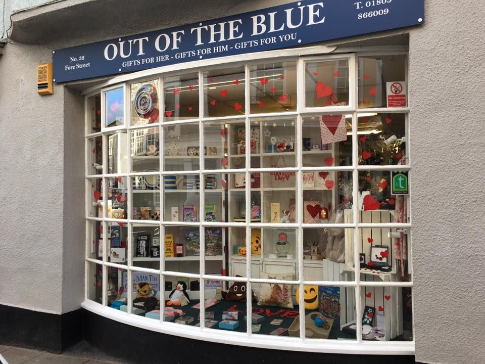 Out of the Blue Totnes Valentine's Window 3