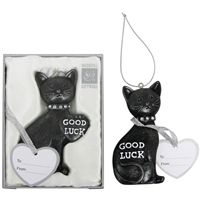 Lucky black cat wedding keepsake