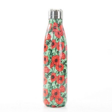 Eco Chic Green Poppies Thermal Bottle