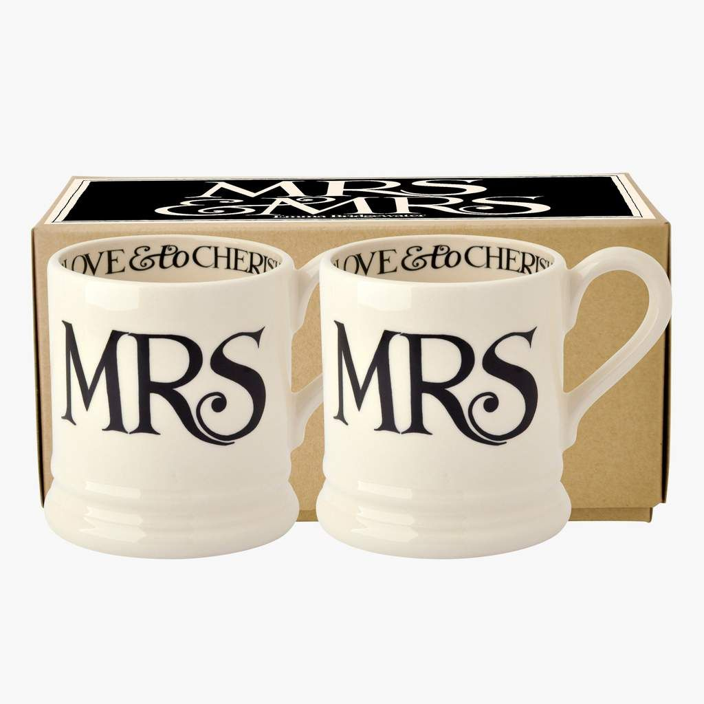 Emma Bridgewater Black Toast Mrs & Mrs Half Pint Mugs