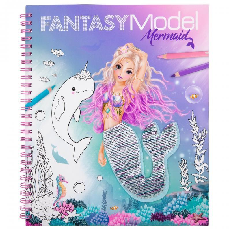 Fantasy Model Mermaid Colouring Book