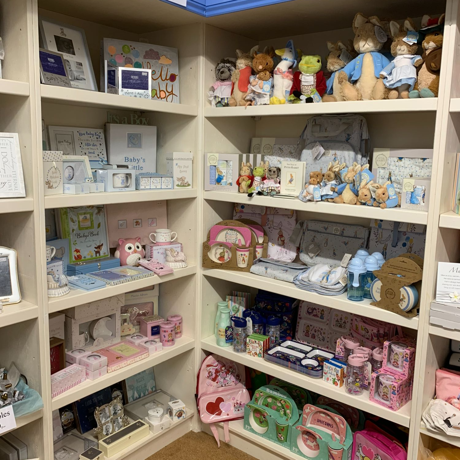 Baby Gifts and Peter Rabbit at Out of the Blue Totnes