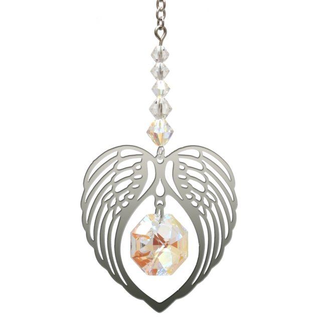 Wild Things Birthstone Angel Wing Heart - Aurora Borealis