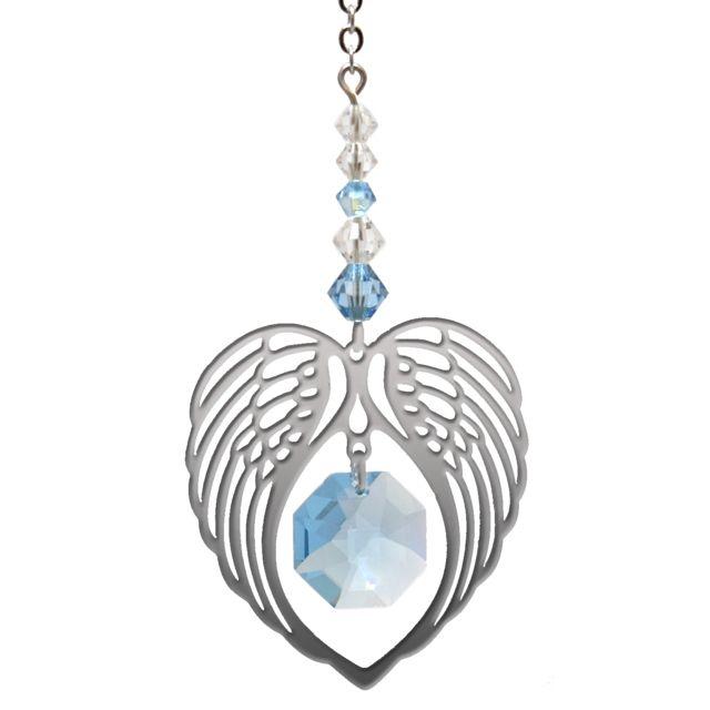 Wild Things Birthstone Angel Wing Heart - Aquamarine