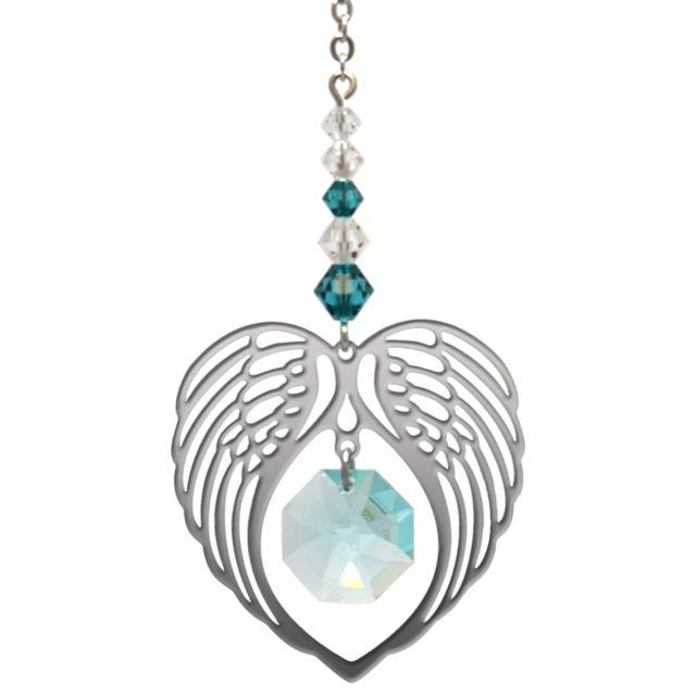 Wild Things Birthstone Angel Wing Heart - Blue Zircon