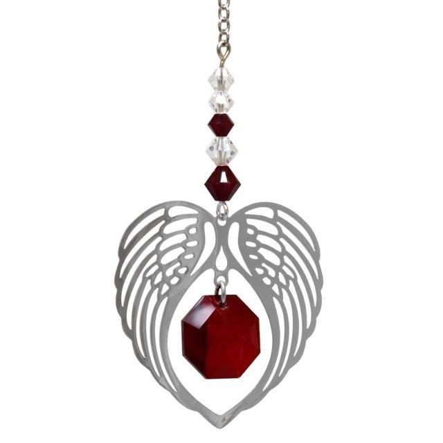 Wild Things Birthstone Angel Wing Heart - Garnet