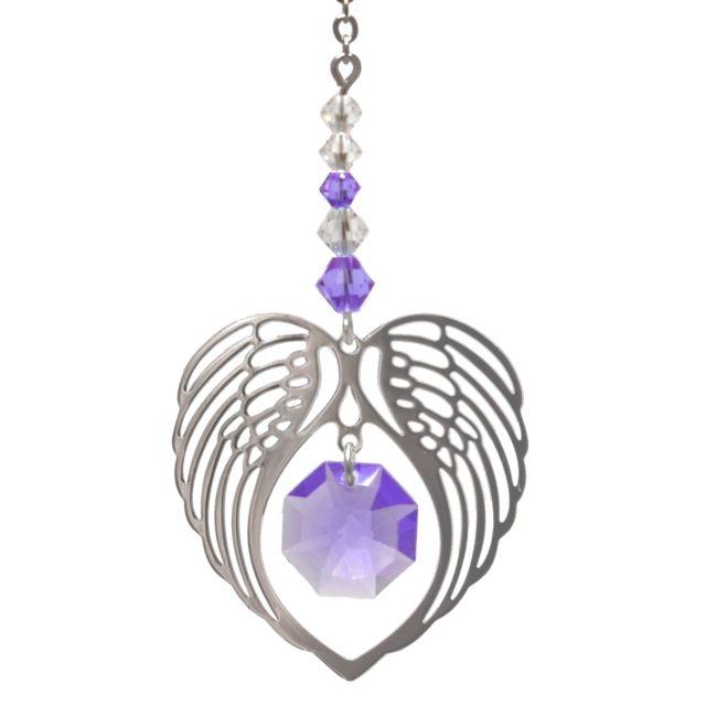 Wild Things Birthstone Angel Wing Heart - Light Amethyst