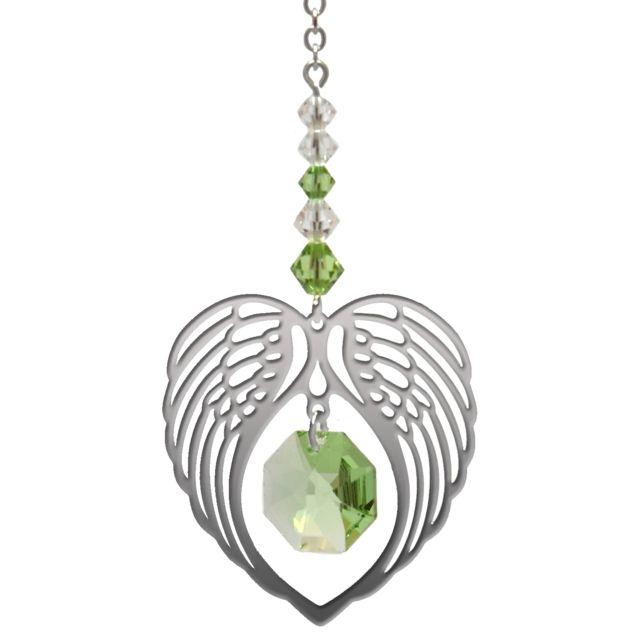 Wild Things Birthstone Angel Wing Heart - Peridot