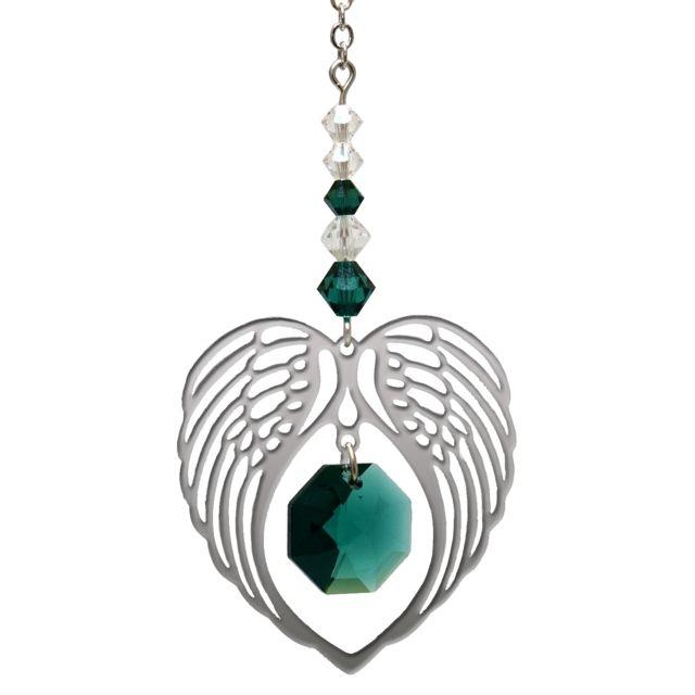 Wild Things Birthstone Angel Wing Heart - Emerald