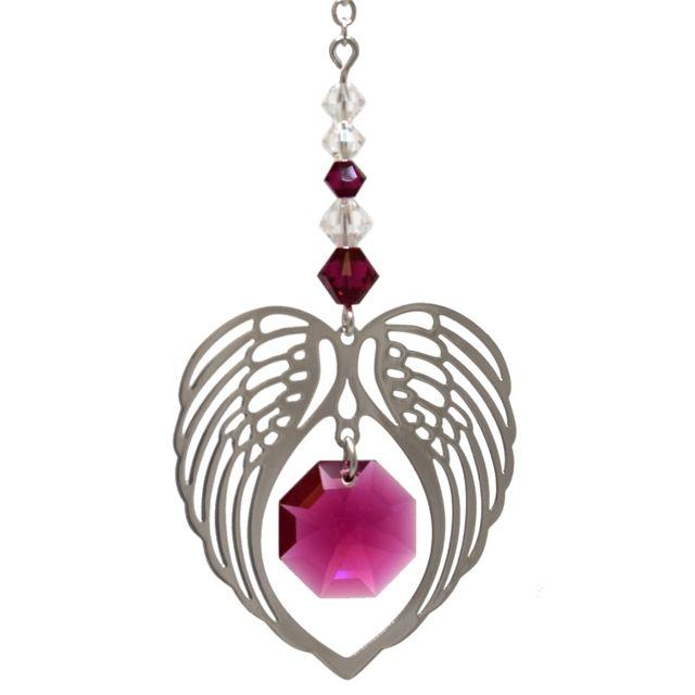 Wild Things Birthstone Angel Wing Heart - Ruby