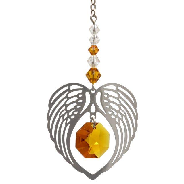 Wild Things Birthstone Angel Wing Heart - Topaz