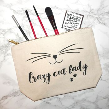 Crazy Cat Lady Make-Up Case, With Paw Prints, Cosmetic Bag, Canvas Wallet