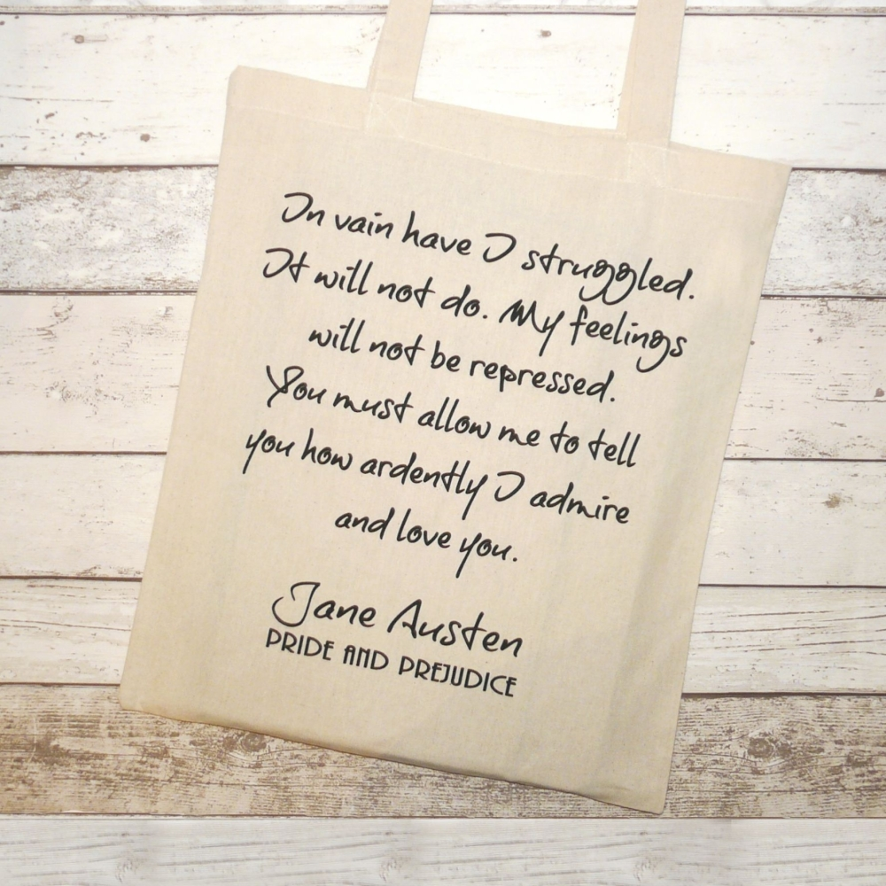 Mr Darcy's Proposal Tote Bag, Pride & Prejudice, Jane Austen,