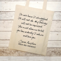 "Jane Austen Tote Bag, Pride & Prejudice Quote ""You must allow me to..."""