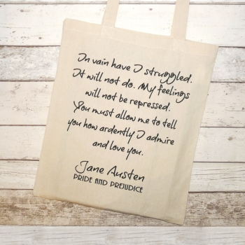 "On Sale - Jane Austen Tote Bag, Pride & Prejudice Quote ""You must allow me to..."""