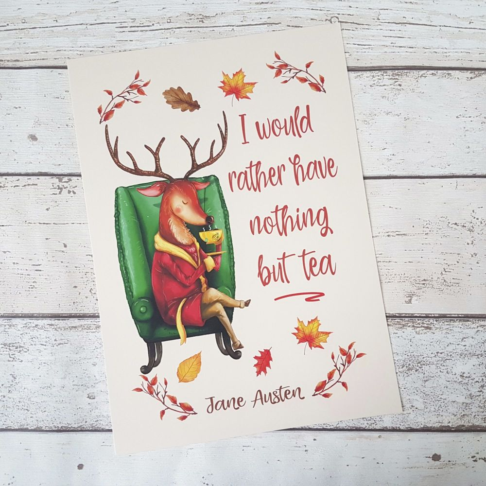 Woodland Creatures - Deer Book Print, Jane Austen Tea Quote- UNFRAMED A4, A5, A6