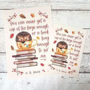 Autumn Hedgehog Book Print, C.S. Lewis Book and Tea Quote