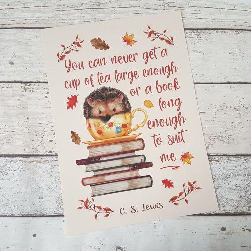Autumn Hedgehog Book Print, C.S. Lewis Book and Tea Quote