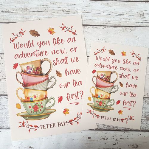 Autumn Book Print - Peter Pan Tea and Adventure Quote