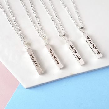 Books & Tea Vertical Bar Pendant 4-sided design