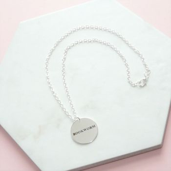 Bookworm Book Lovers Round Disc Necklace