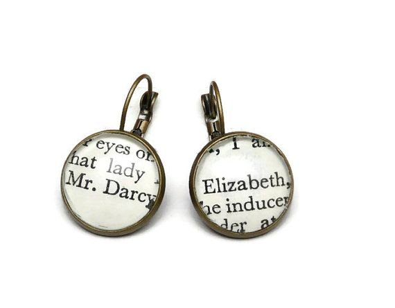 Mr Darcy & Elizabeth Earrings, Jane Austen, Book Jewellery