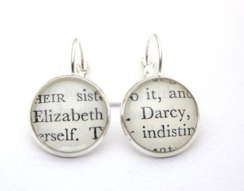 Mr Darcy & Elizabeth Earrings, Jane Austen, Silver Plated Book Jewellery