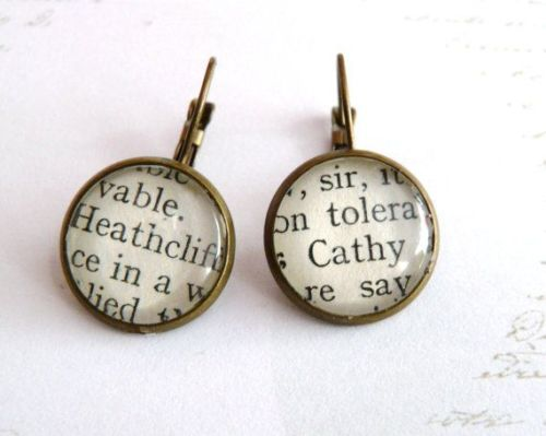 Wuthering Heights Book Earrings, Silver or Bronze, Cathy & Heathcliff