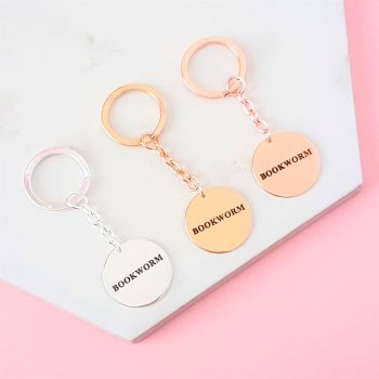 Bookworm Key Ring - Silver, Gold, Rose Gold Plated