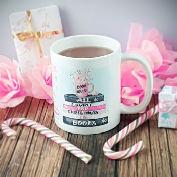 Christmas Book Mug, All I want for Christmas is books, Pastel design
