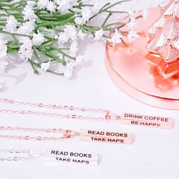 Books & Coffee Vertical Bar Pendant 4-sided design, Silver, Gold or Rose Gold Plated