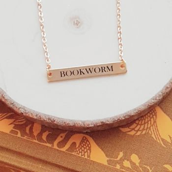 Bookworm Horizontal Bar Necklace, Gold or Silver