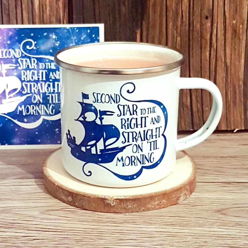 Peter Pan Second Star Quote Enamel Camping Mug