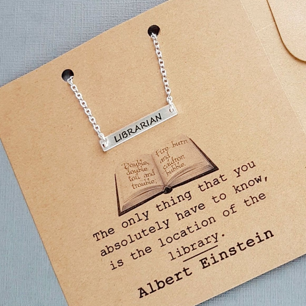 Librarian Horizontal Bar Necklace