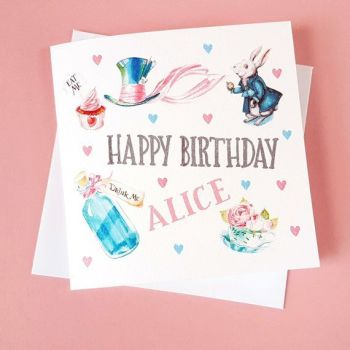 Personalised Alice in Wonderland Birthday Card - We're All Mad Here Literary Quote
