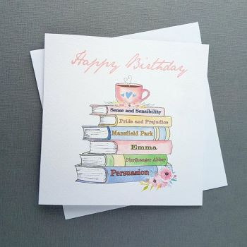 Jane Austen Birthday Card - Jane Austen Book Spines -
