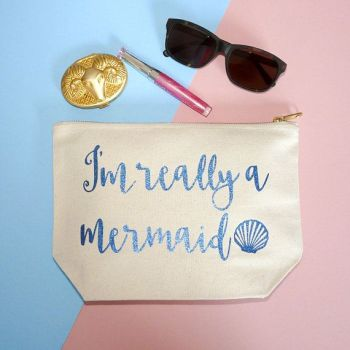 Mermaid Make Up Case, I'm Really A Mermaid, Gifts For Her, Blue Glitter Mermaid Design - Fantasy Gift