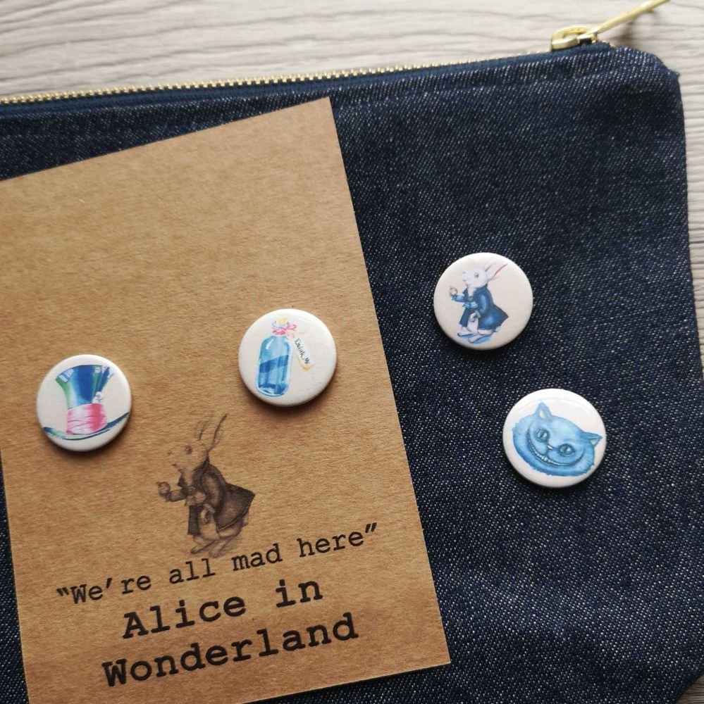 Alice in Wonderland Pin Buttons - Mini Bookish Pin Badges 25mm